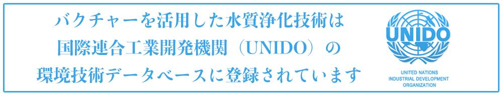バクチャーを活用した水質浄化技術は 国際連合工業開発機関(UNIDO)の 環境技術データベースに登録されています